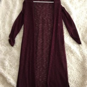 Long Burgundy Cardigan